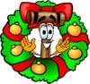 Cartoon Mallet In A Christmas Wreath clipart