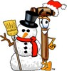 Cartoon Mallet With A Snowman clipart