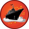 Clip Art Illustration of a Cruise Ship Icon clipart