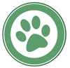 A Green Paw Print in a Circle. clipart