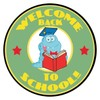 A Smiling Monster Reading a Book in a Welcome Back to School Logo. clipart