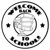 Black and White Welcome Back to School Boy Carrying a Stack of Books. clipart