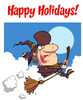 "A Witch on Her Broomstick Under Red Text Saying ""Happy Holidays!"". clipart"