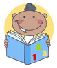 A Grinning Black Boy Reading a Book. clipart