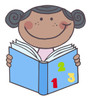 An African American Girl Studying Math. clipart