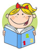 A Happy Young Girl Studying From Her Book. clipart