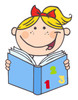 A Smiling Blond Girl Reading a Book. clipart