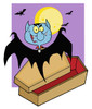 A Dracula Flying Out of a Coffin Under a Full Moon. clipart
