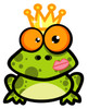 A Green Frog Wearing a Crown. clipart