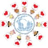 Smiling Angels With Red Heart Valentines Standing Around the Globe. clipart