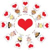 Angels Standing in a Circle Around a Red Heart Holding Valentines. clipart