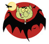 A Halloween Dracula Flying in Front of the Full Moon. clipart