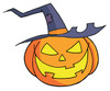 A Smiling Halloween Pumpkin With a Witch Hat. clipart