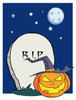 A Full Moon Above a Halloween Pumpkin and a R.I.P. Tombstone. clipart