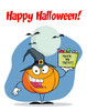 A Trick or Treating Pumpkin Wearing a Witch's Hat. clipart