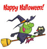 A Cackling Green Witch and Her Black Cat Riding on a Magic Broomstick. clipart