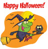 A Witch and Her Cat Flying on a Magic Broom in Front of a Full Moon on Halloween. clipart