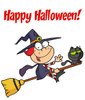 "A Red Headed Witch Flying Her Magic Broomstick Under ""Happy Halloween!"" Text. clipart"