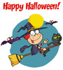 Vampire Bats Flying Around a Witch and Her Cat on a Magic Broomstick. clipart