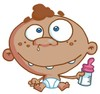 An Ethnic Baby With a Bottle. clipart