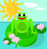 Cartoon frog sitting on a lily pad in his pond clipart