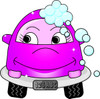 Cute little cartoon car with bubbles and a smile as it gets a car wash clipart
