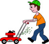 Boy mowing the lawn with a lawnmower clipart