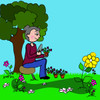 Elderly woman planting flowers in her flower garden on a beautiful spring day clipart