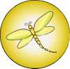 Button icon of a yellow dragonfly clipart