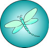 Aqua Dragonfly button graphic clipart