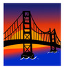 Cartoon Clip Art of the golden gate bridge at sunset with dark blue water below clipart