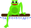 a clip art illustration of a frog sitting on a log clipart