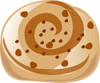 a clip art illustration of a cinammon roll with brown swirls clipart