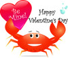 A Clip Art Illustration Of A Crab Holding A Be Mine Valentine Card clipart