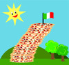 Clip Art Image Of Pizzas Leaning With A Flag At the Top In A Grassy Field On A Bright Sunny Day clipart