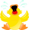 Clip Art Illustration Of A Duck Crying. His Tears Are Squirting Out Of His Eyes clipart