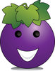 Illustration by Pamela Perry of a happy cartoon grape cartoon character clipart