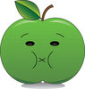 Clip Art Image Of a Sour Faced Green Apple With The Lips Puckered Up clipart