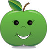 Clip Art Image Of A Happy Green Apple With A smiley Face clipart