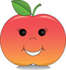 Clip Art Image Of A Red Apple With A Smiley Face clipart