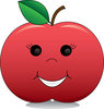 Clip Art Of A Red Apple With A Happy Face clipart