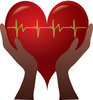 Clip Art Image Of A Pair Of hands Holding A Heart With A Heart Rate Through It clipart