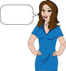 Illustration Of A Housewife Talking With A Blank Message Bubble  clipart