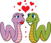 clip art illustration of two cute worms in love clipart
