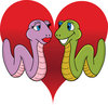 clip art illustration of two worms in love on a red heart background clipart