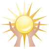 clip art illustration of a pair of hands holding a sun clipart