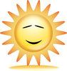 clip art illustration of a Sun shining brightly with eyes and a mouth  clipart