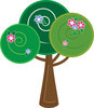 clip art illustration cartoon of a fancy green tree with fancy designs clipart
