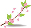 clip art illustration of a branch with pink blossoms and green leaves clipart