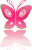 clip art illustration of a pink butterfly with green outline clipart